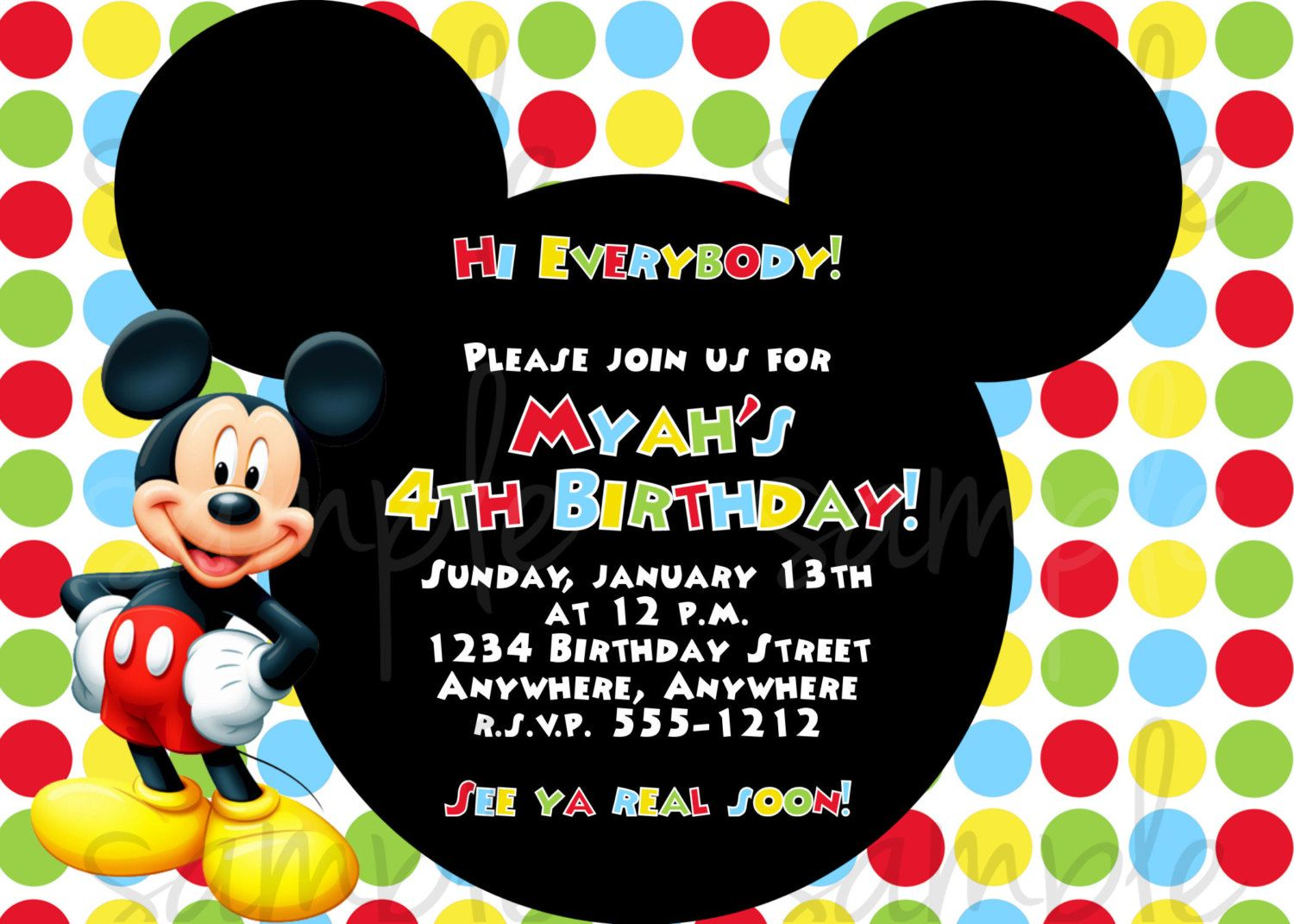 mickey mouse birthday invitation | 1 year birthday | pinterest, Party invitations