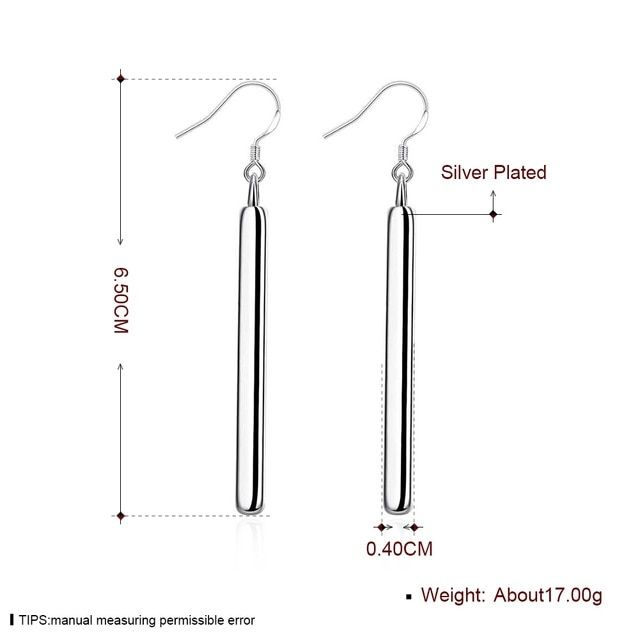 Clip on Vertical Bar Dangle Earrings Line Simplify Long Drop for Women Girl Silver Plated Wedding