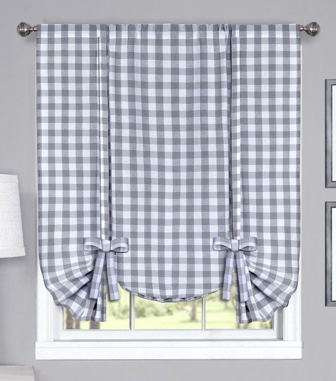 Buffalo Check Woven Tie Up Curtain Shade