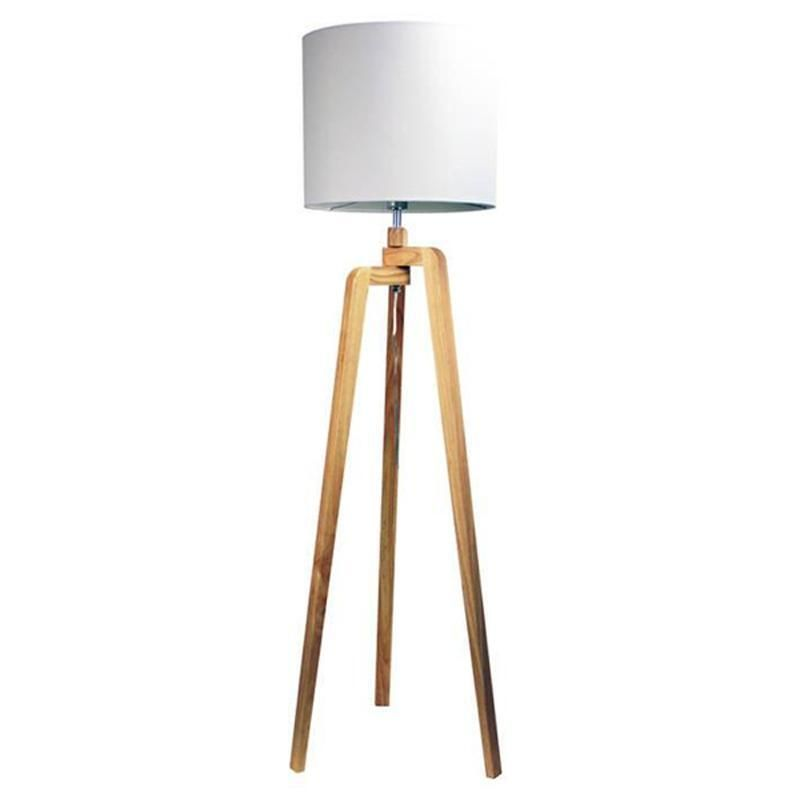Lund Scandi Wooden Tripod Floor Lamp in White