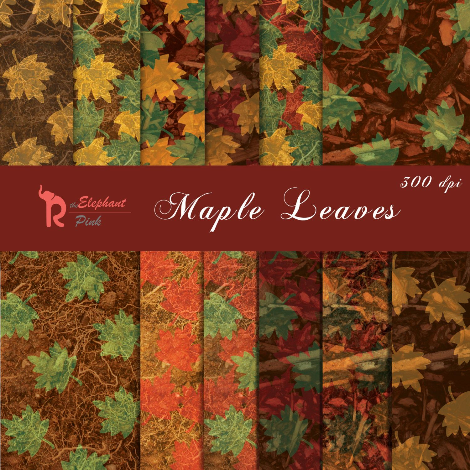 Fall Digital Paper, Maple Leaves Instant Download Scrapbook Paper Pack by theELEPHANTpink on Etsy