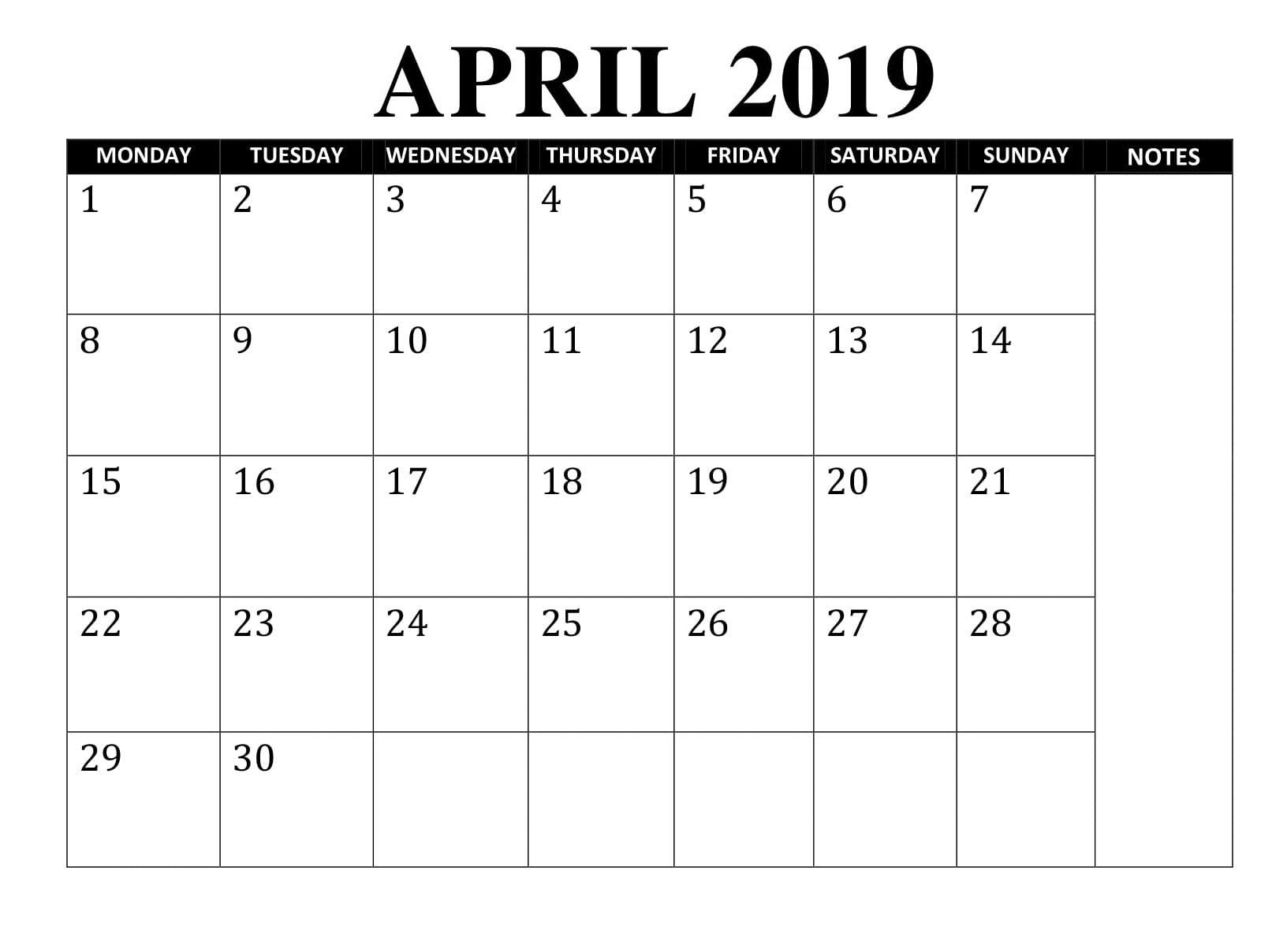 Editable April 2019 Calendar Printable Template With Holidays