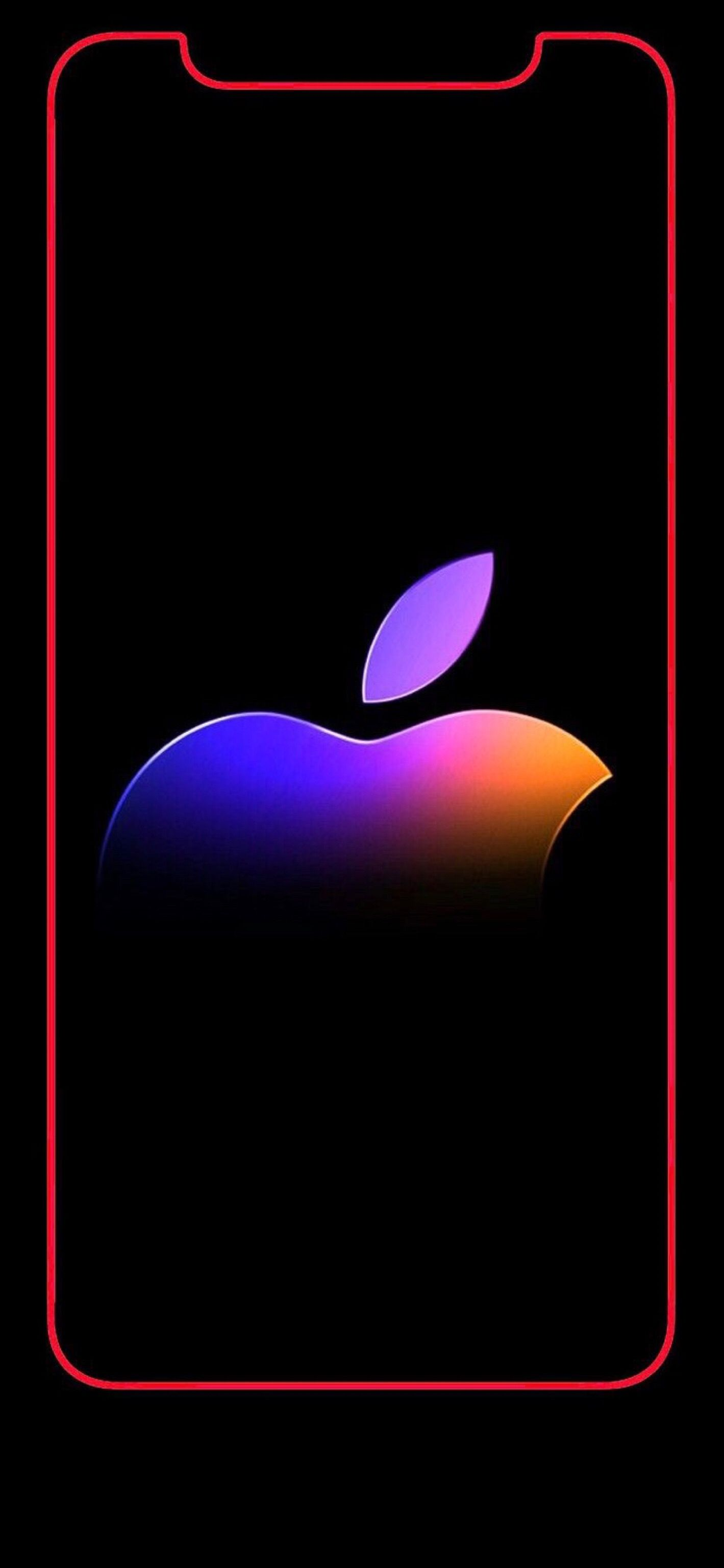 Wallpaper iPhone X Apple logo rainbow 4 Apple logo