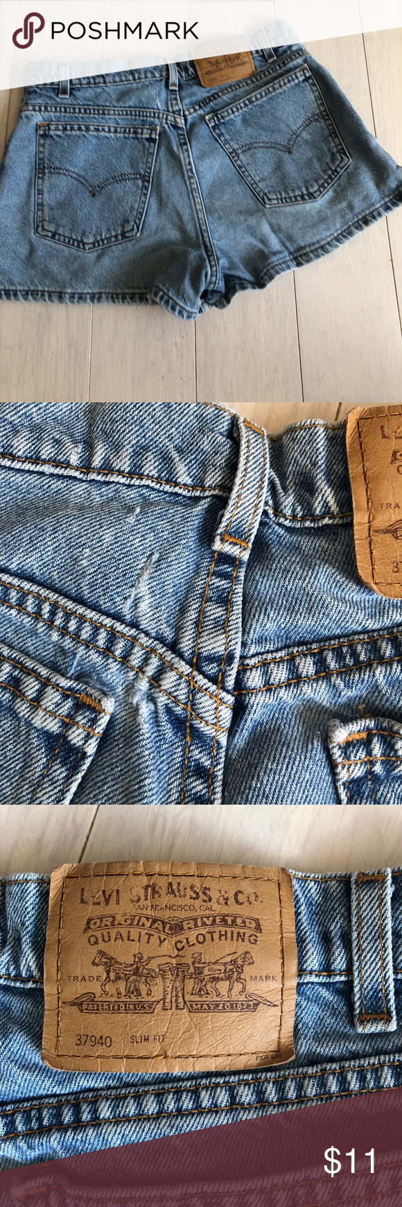 Levi's Blue denim shorts size 11 27 juniors 💕Vtg Super cute shorts some distressed on back see picture and also on the hems these are made for curvy girls💕Shows our butts perfectly!!!! Vintage from the 90s levis Shorts Jean Shorts