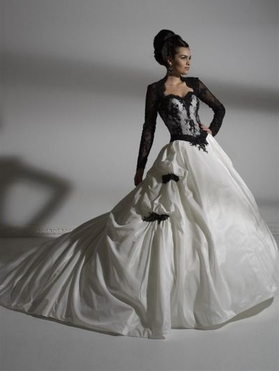 Black and White Lace Long Sleeves Gothic Wedding Dress | Fabulous ...