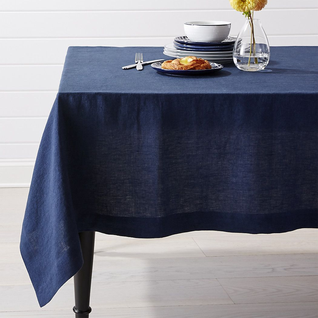 Helena Indigo Blue Linen Tablecloth Crate And Barrel Natural
