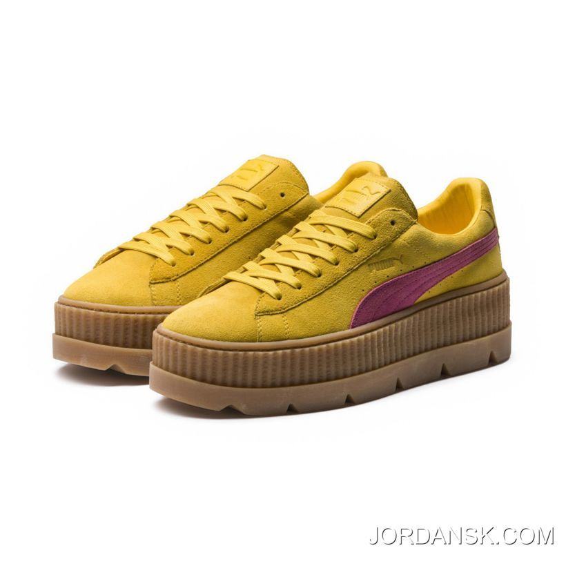 FENTY SUEDE CLEATED CREEPER WOMENS PUMA LemonCarmine RoseVanilla Ice For Sale Price 15052  Jordan Shoes Discount Nike Shoes Online