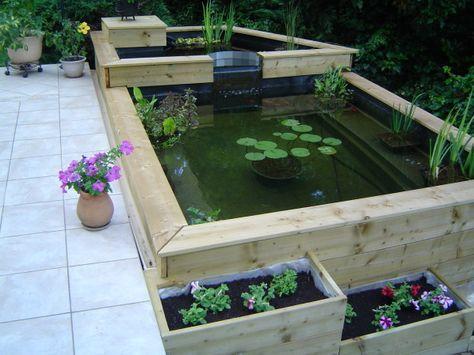 Mon bassin Pinterest Pond, Gardens and Garden ponds - terrasse bois avec bassin
