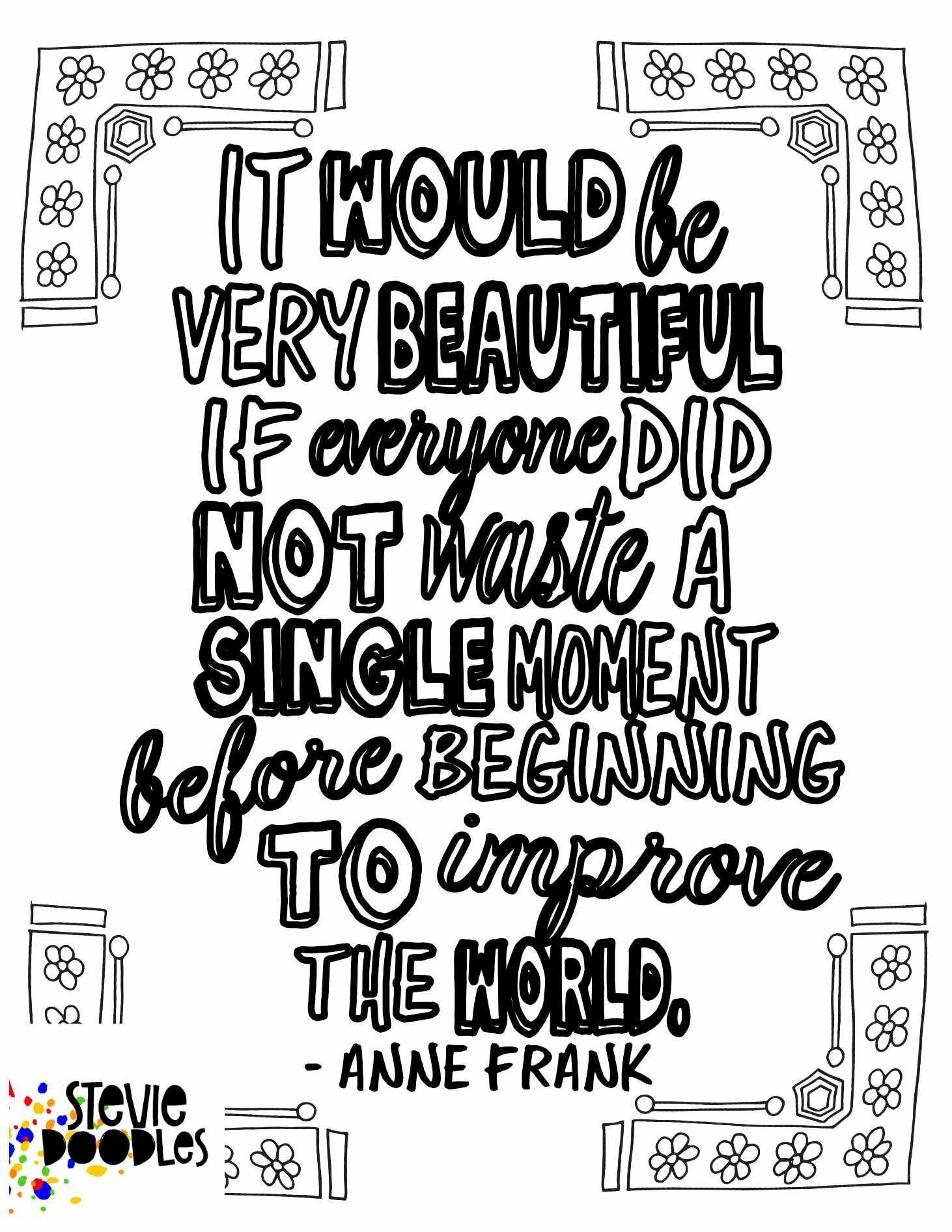 Anne Frank Quote Free Coloring Page