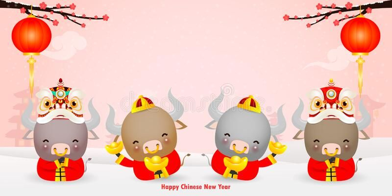 Happy Chinese New Year 2021 Greeting Card Group Of Little Cow Holding Chinese G Sponsored In 2020 Happy Chinese New Year Chinese New Year Greeting Chinese New Year