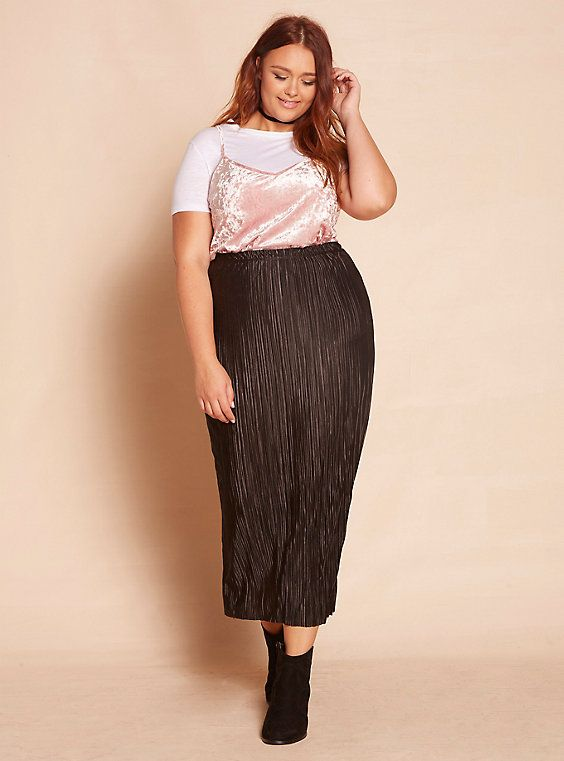 5a424bece Pleated Maxi Skirt, BLACK | Plus Size Larme Kei | Affordable plus ...