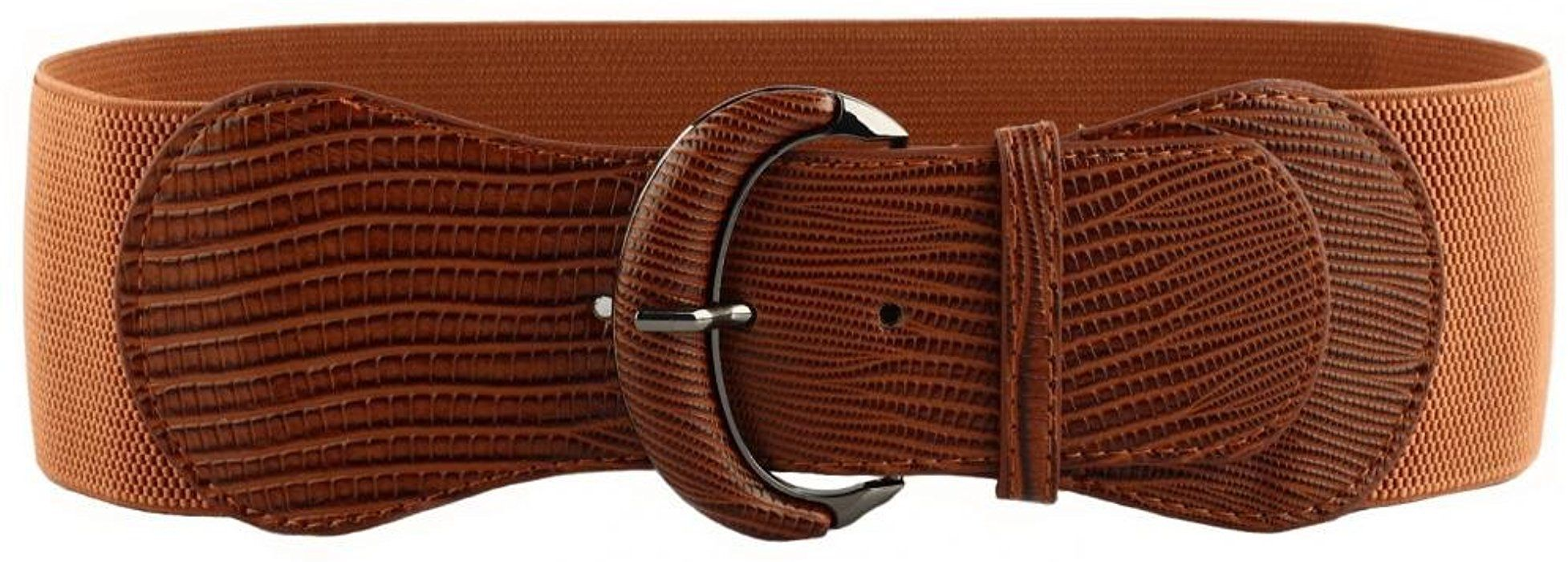 46c14d357e731 VOCHIC PU Leather Elastic Wide Belt for Women Stretch Thick Waist Belt for  Dress, Brown, One size(26