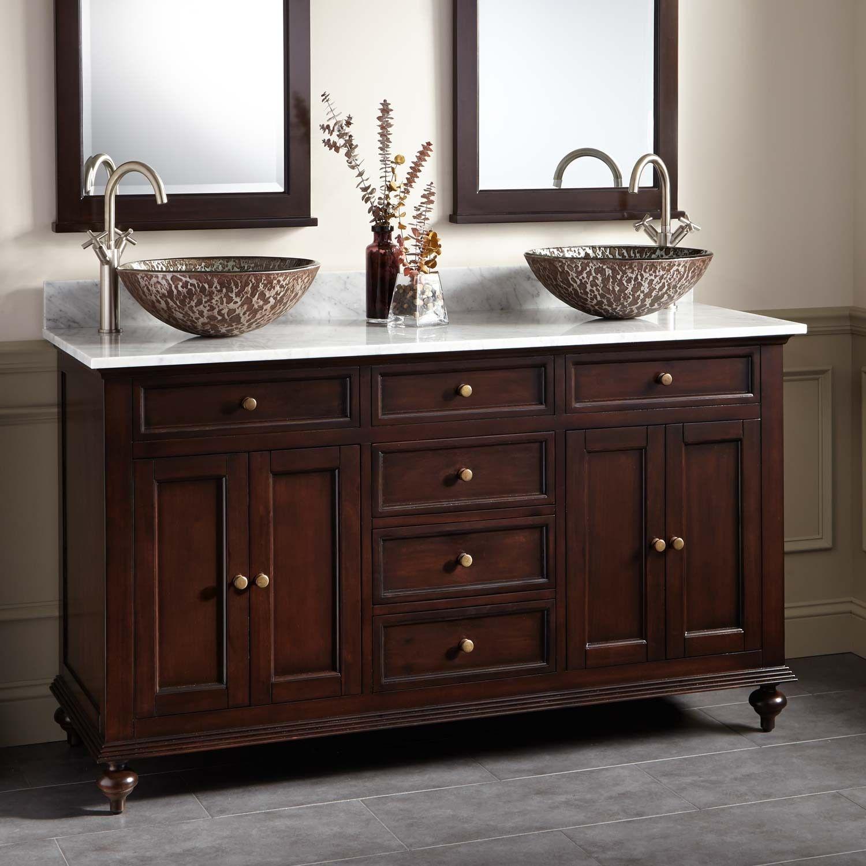 60 Keller Mahogany Double Vessel Sink Vanity Dark Espresso Double Sink Vanities Vessel Sink Vanity Vessel Sink Bathroom Vanity Double Vessel Sink Vanity