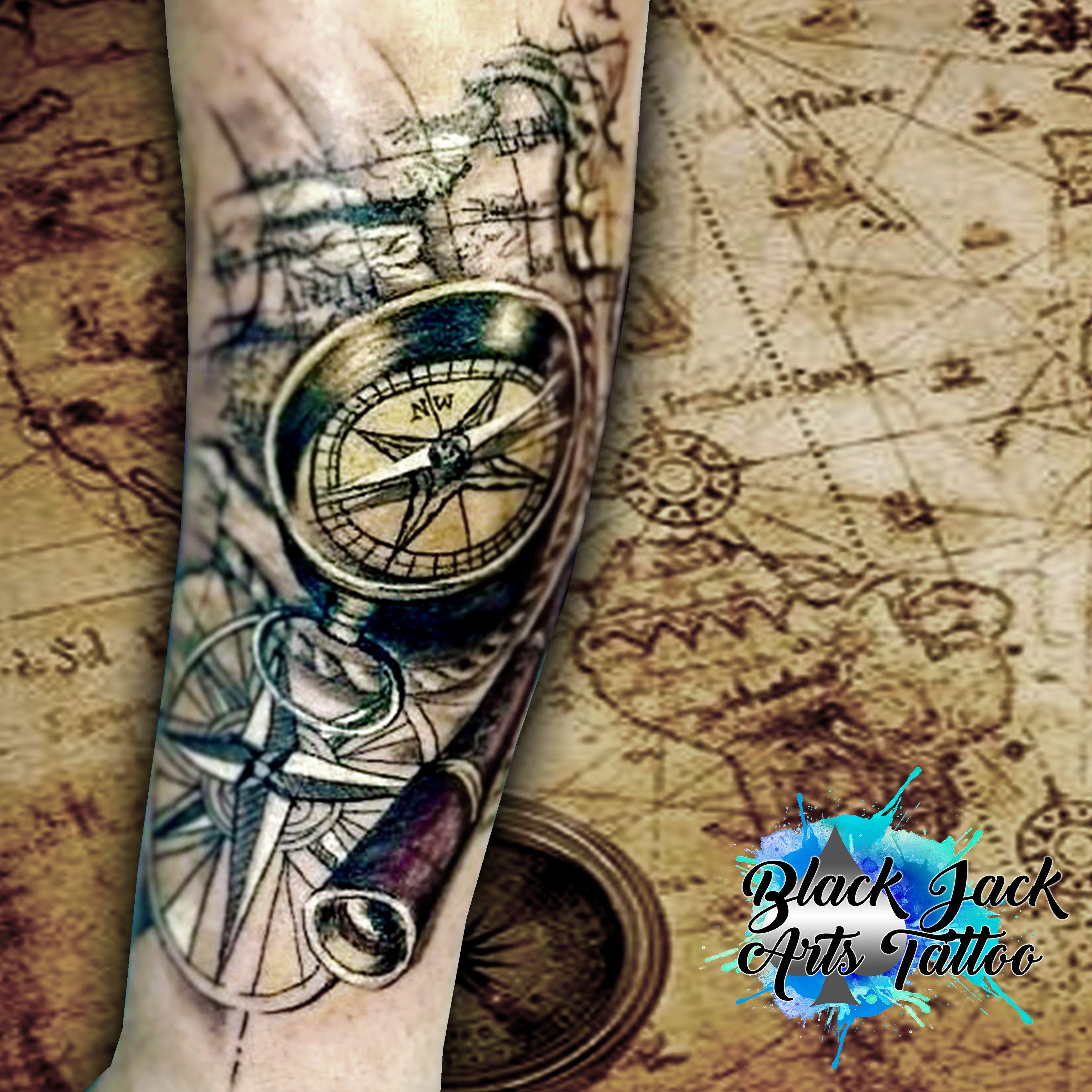 Tatuagem de bussola e mapa tatuagens masculinas for Tatoo bussola