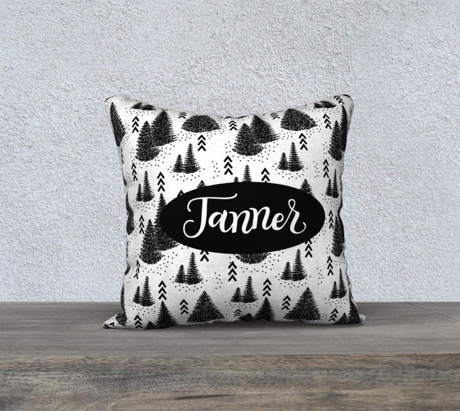 Pillow - Custom name - Pine forest - Black and white