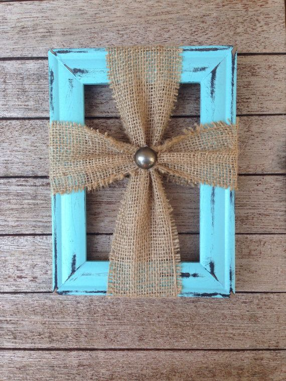 Picture Frame Burlap Cross By Merktdesigns On Etsy Picture Frame