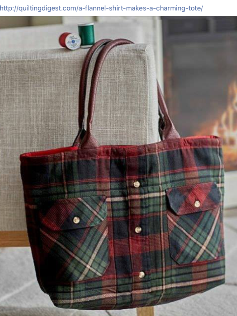 Flannel shirt bag  Pin by Doris Schofield on Crafts  Pinterest  Craft
