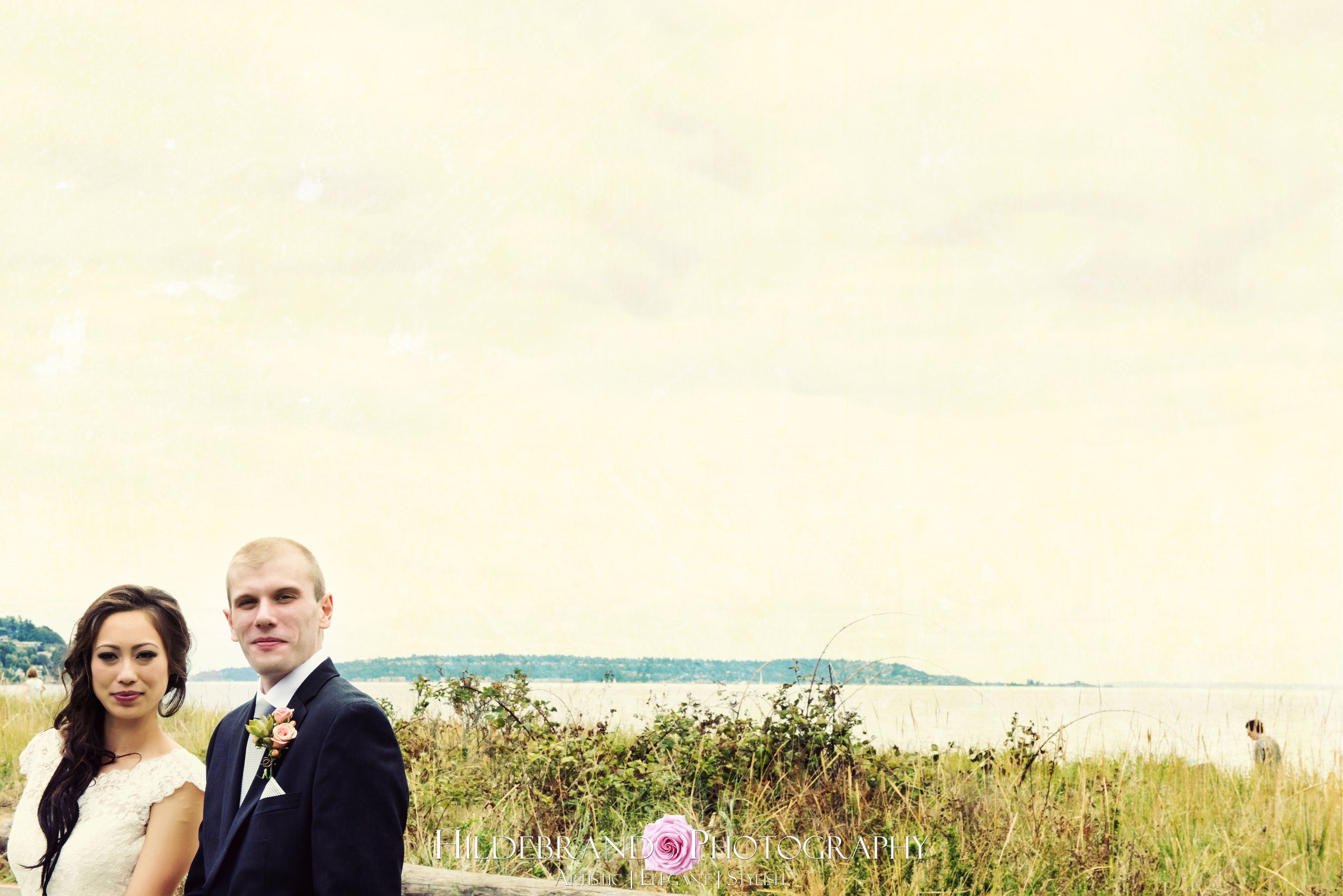 bride and groom, discovery park wedding, seattle wedding