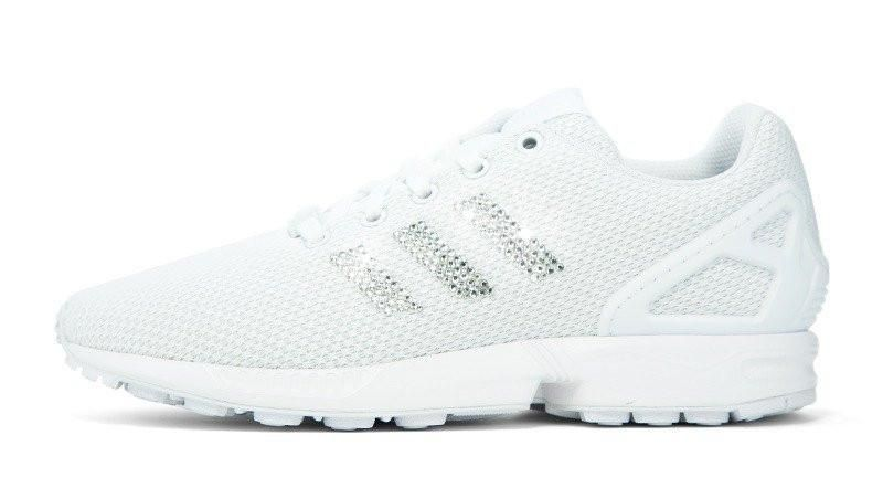 Adidas ZX Flux + Crystallized Swarovski 3-Stripe - Triple White – Glitter  Kicks a3c84256ecaf