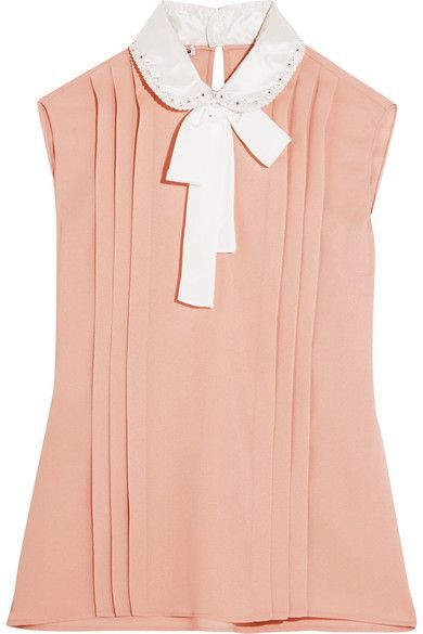 8e74201c9dd MIU MIU Embellished silk satin-trimmed pleated crepe blouse.  miumiu  cloth   tops