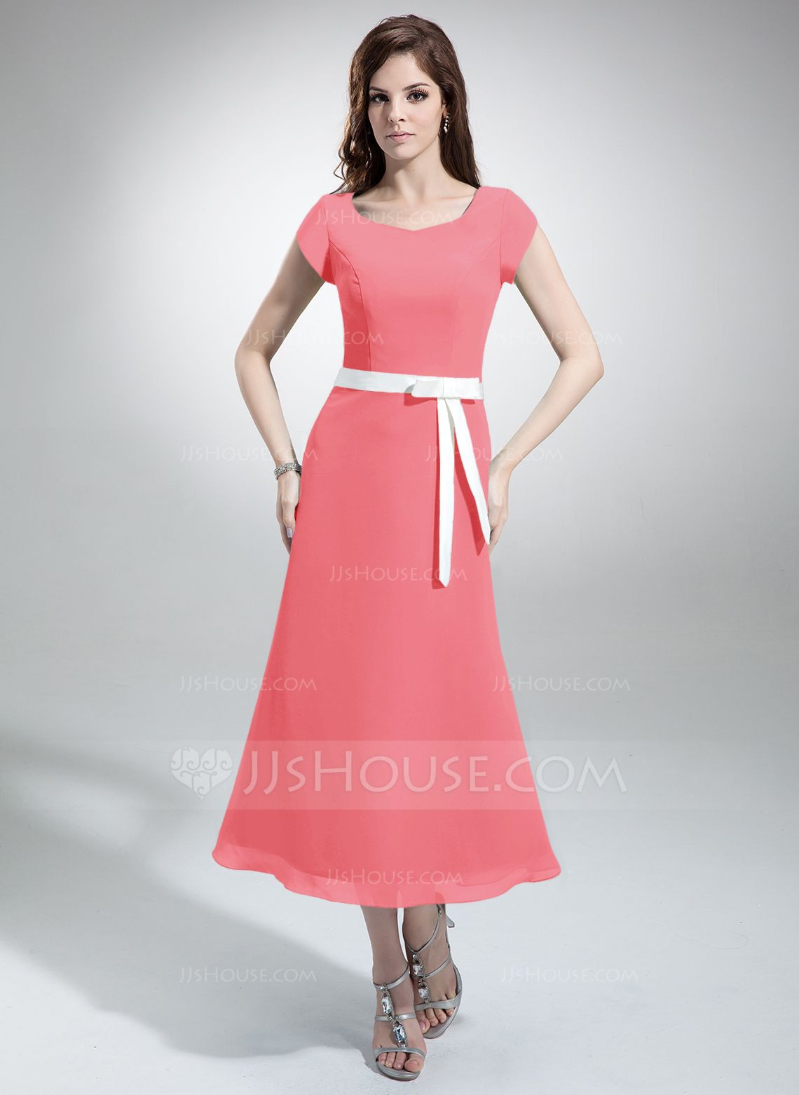 A-Line/Princess V-neck Tea-Length Chiffon Bridesmaid Dress With Sash ...