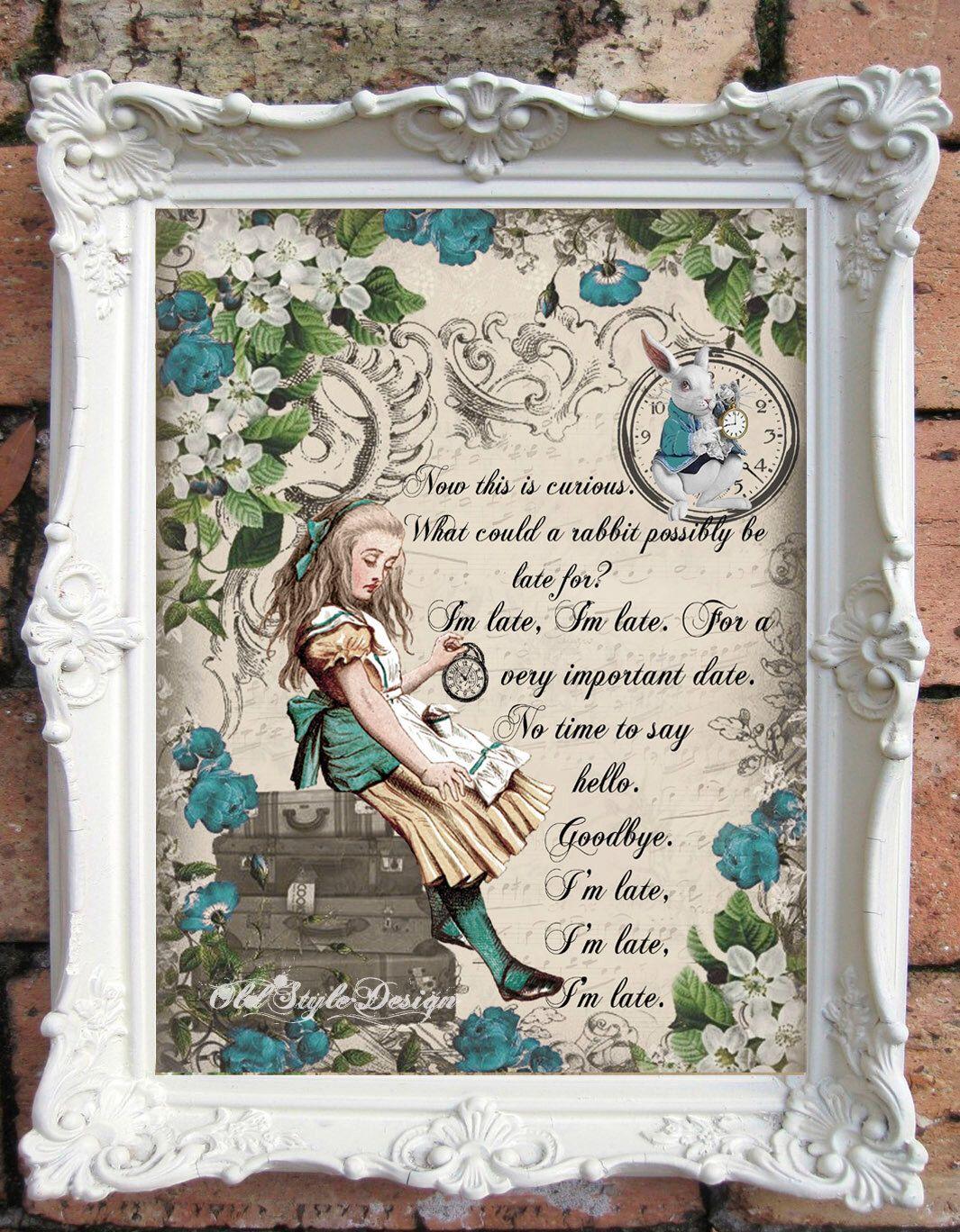 Alice In Wonderland Quote Art Print Alice In Wonderland Decoration Shabby Alice And Wonderland Quotes Alice In Wonderland Decorations Alice In Wonderland Print