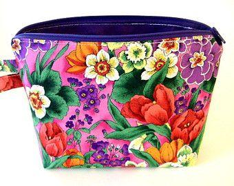 Zippered Wristlet Pouch/Makeup Bag/Clutch/Purse - Wildflowers