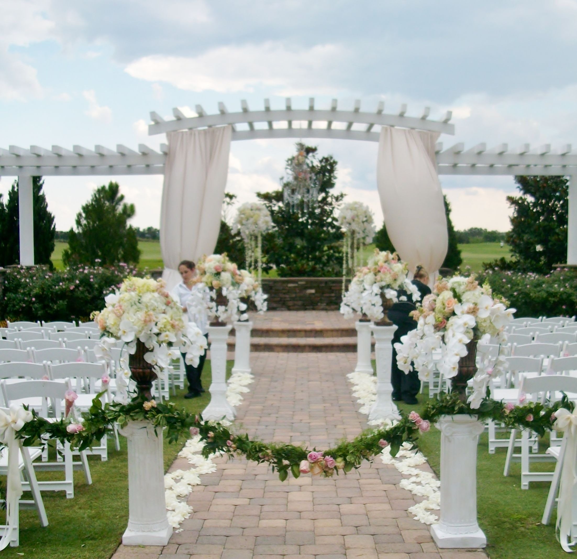 decorating ideas for outside wedding ceremony%0A wedding ceremony floral by Atmospheres at the beautiful Royal Crest Room in  St  Cloud