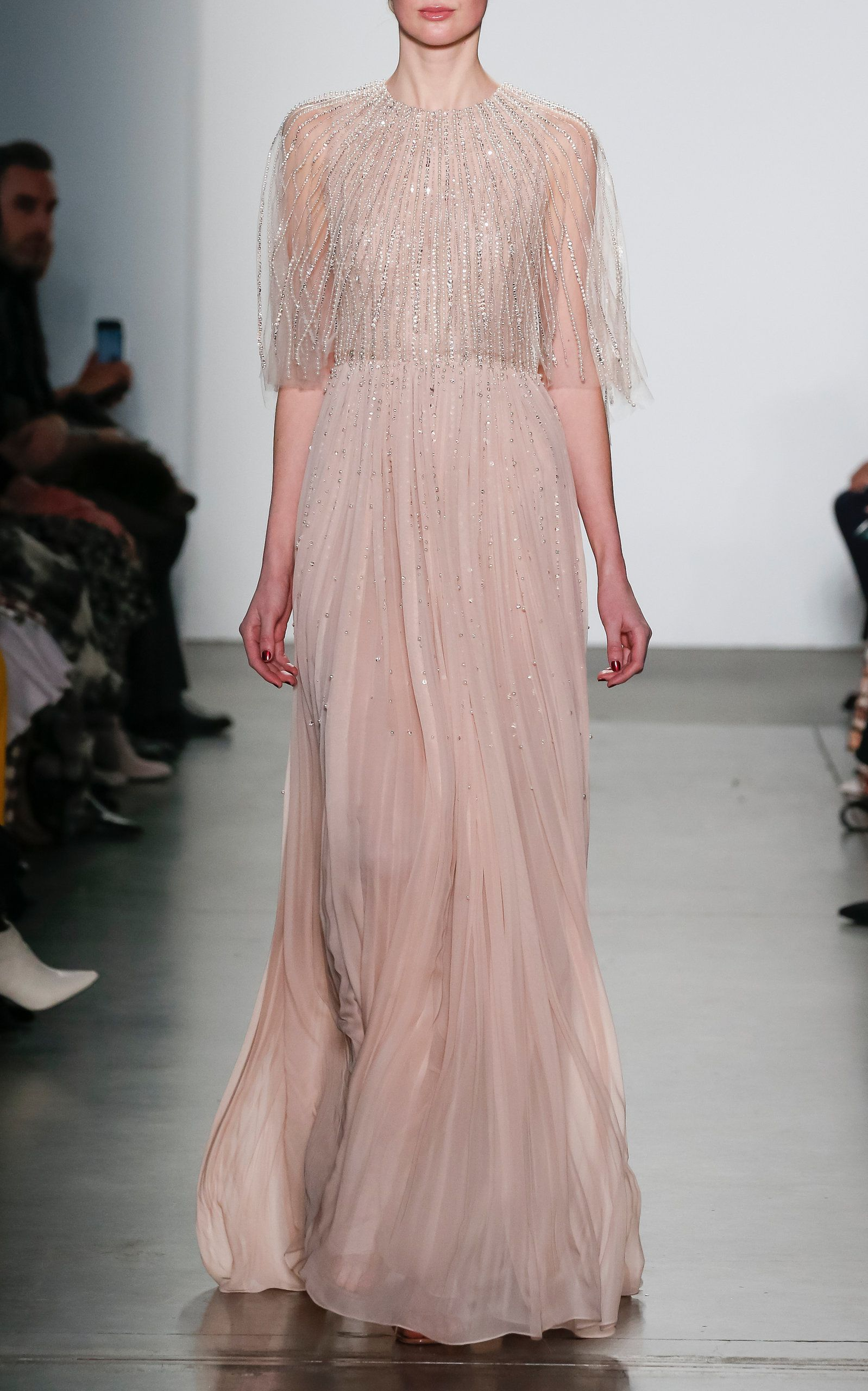 e149d3b950ab2 Embellished Capelet Silk Chiffon Gown by PAMELLA ROLAND for Preorder on  Moda Operandi