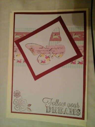 Really quick and simple handmade card - used pstterned tapes in - butterfly template