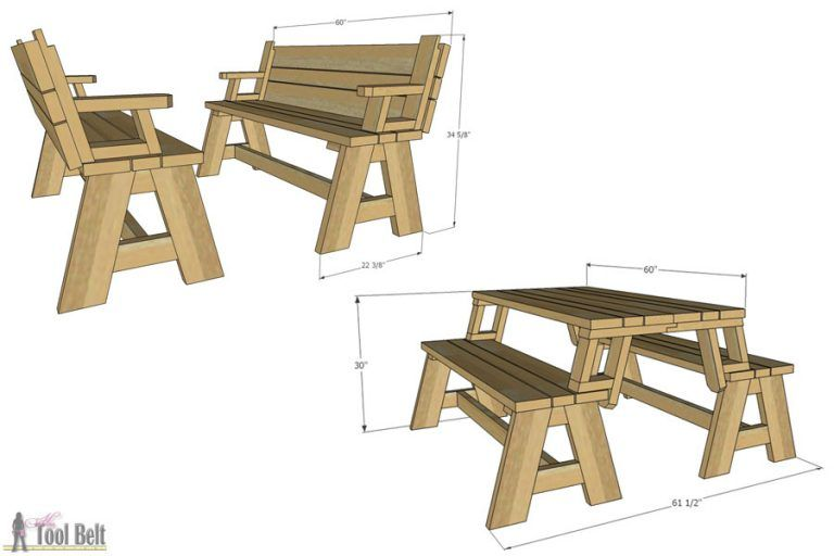 Bench That Turns Into A Picnic Table Plans Convertible Picnic