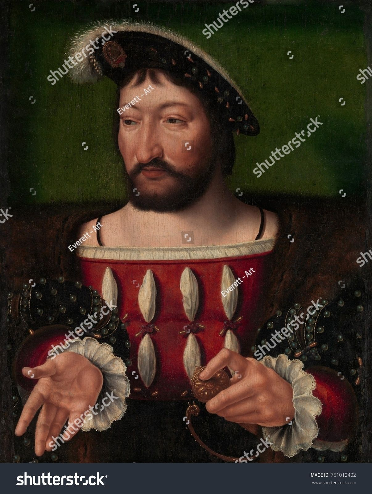 I, KING OF FRANCE, by Joos van Cleve, 1525, Netherlandish, Northern Renaissance painting. Francis I was the first Valois King of France from 1515-47. He was a patron of French Renaissance art ,FRANCIS I, KING OF FRANCE, by Joos van Cleve, 1525, Netherlandish, Northern Renaissance painting. Francis I was the first Valois King of France from 1515-47. He...