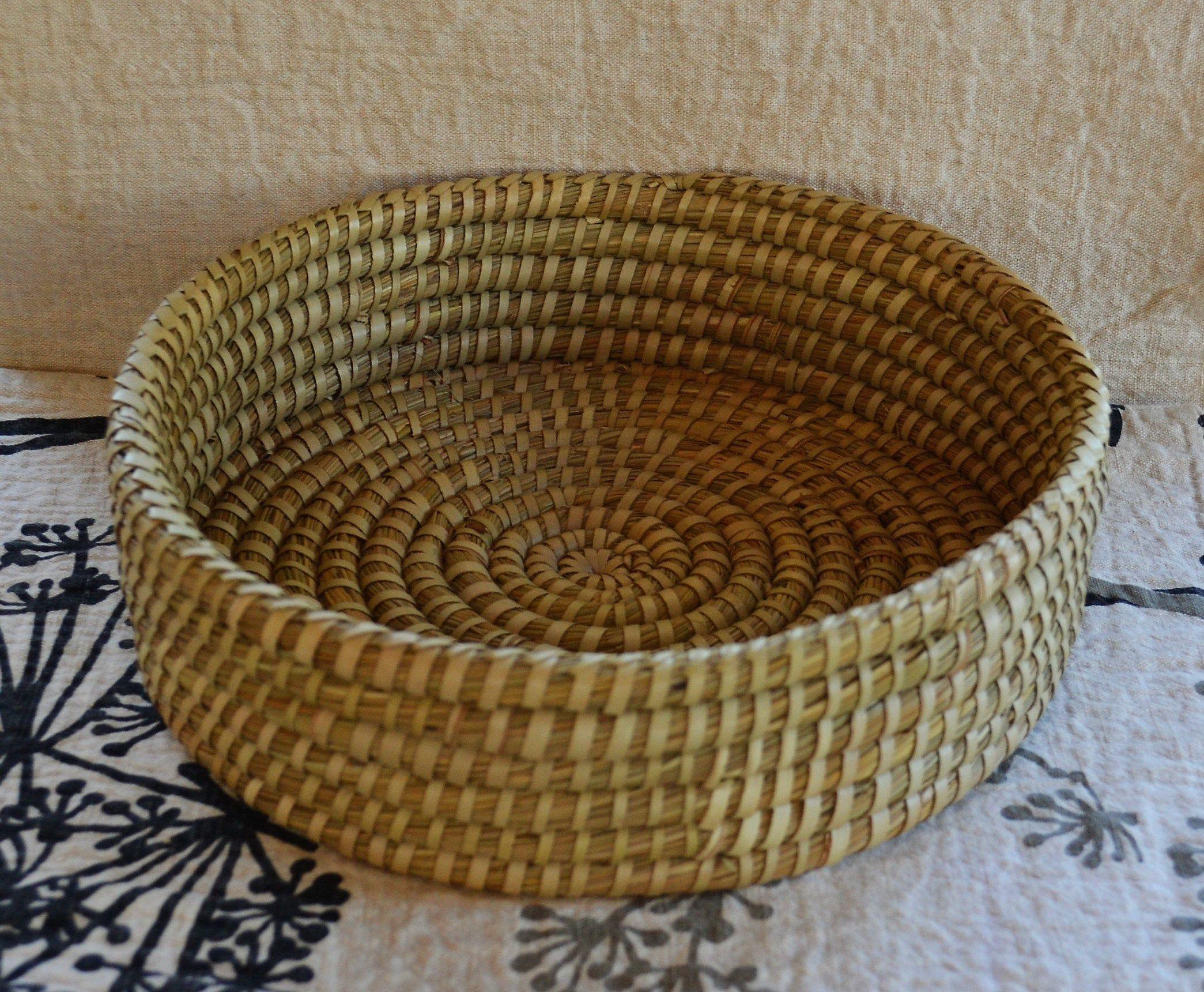 Vintage Coiled Basket Bowl Natural Fiber Fruit Vegetable Bowl Natural Tan Colors Rustic Basket Vintage Woven Bowl Farmhouse Tribal Decor #fiberfruits