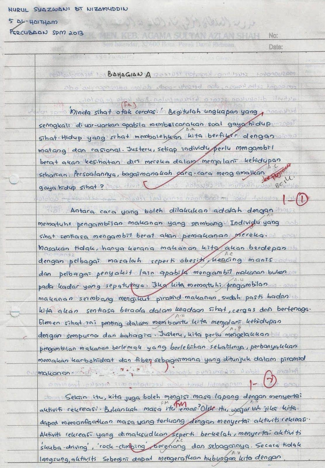 Laman Bahasa Melayu Spm Contoh Karangan Terbaik Pelajar Smakasas Peperiksaan Percubaan Spm 2013 State Capitals Worksheet Learn English Words Study Tips