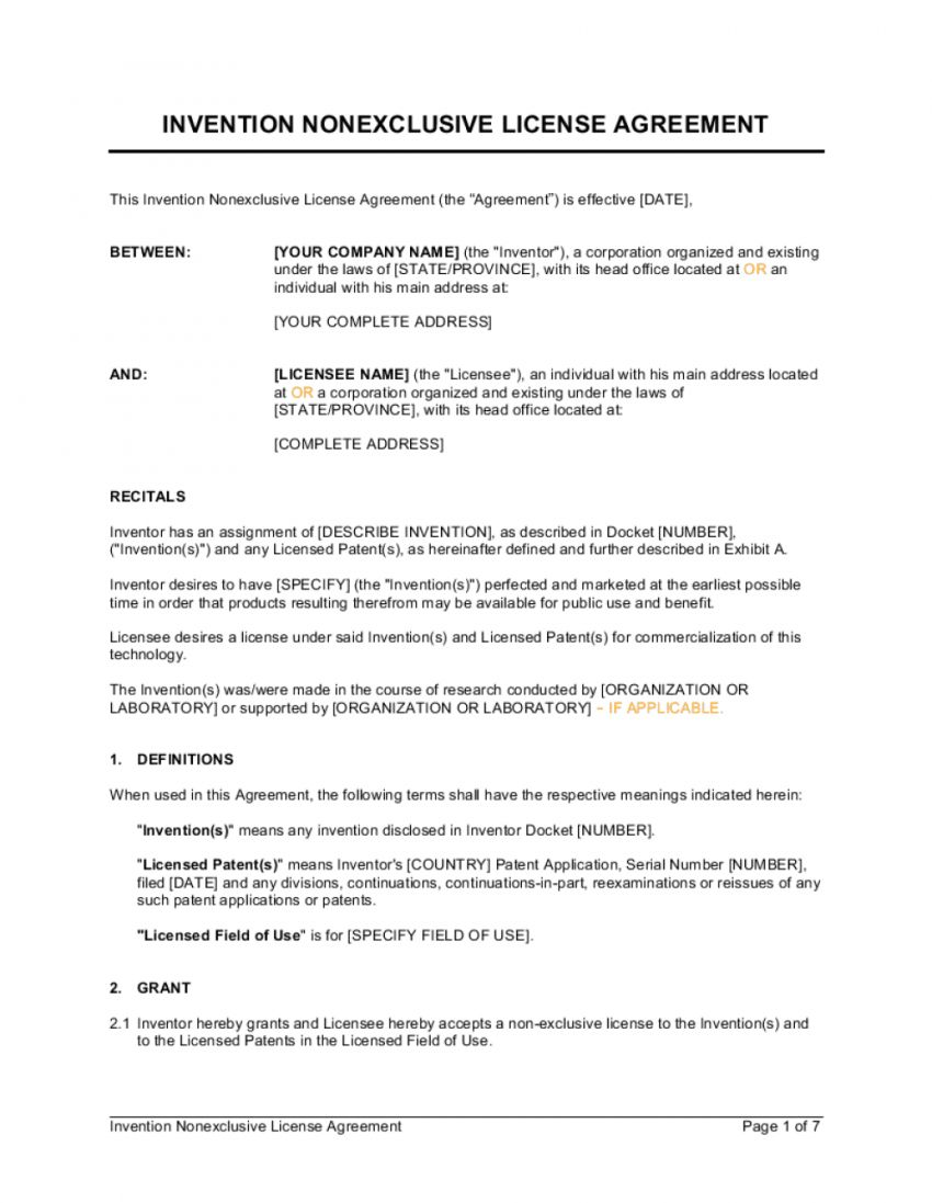 Browse Our Sample Of Non Exclusive License Agreement Template In 2020 Contract Template Contractor Contract Agreement