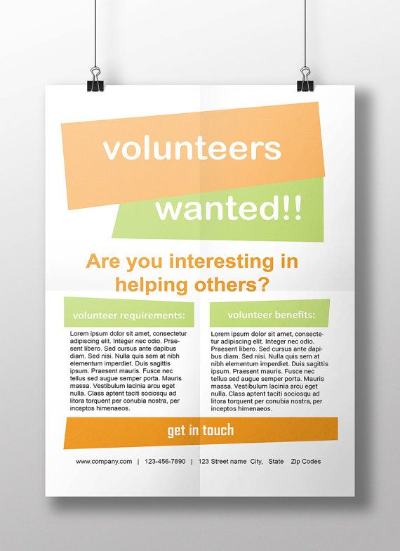 Simple Clean And Modern Job Wanted Volunteer Wanted A4 Size Flyer