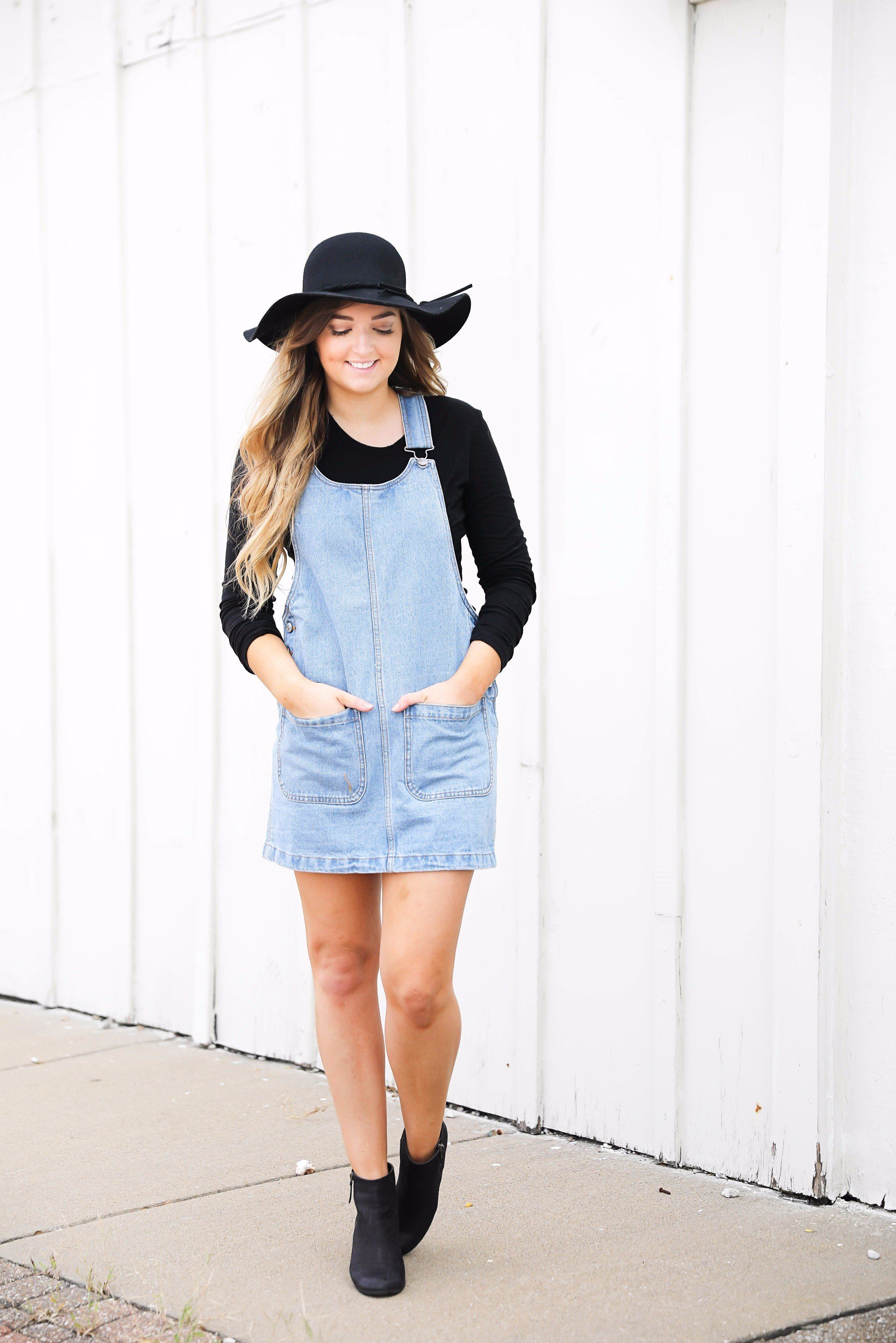 Fall outfit idea! Overall dress and black floppy hat and black booties! I  love