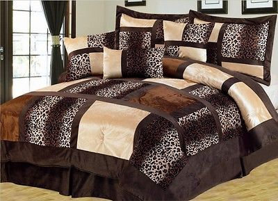 21 PC Comforter Curtain Sheet Set Leopard Brown Beige King Size Bed in a Bag  New