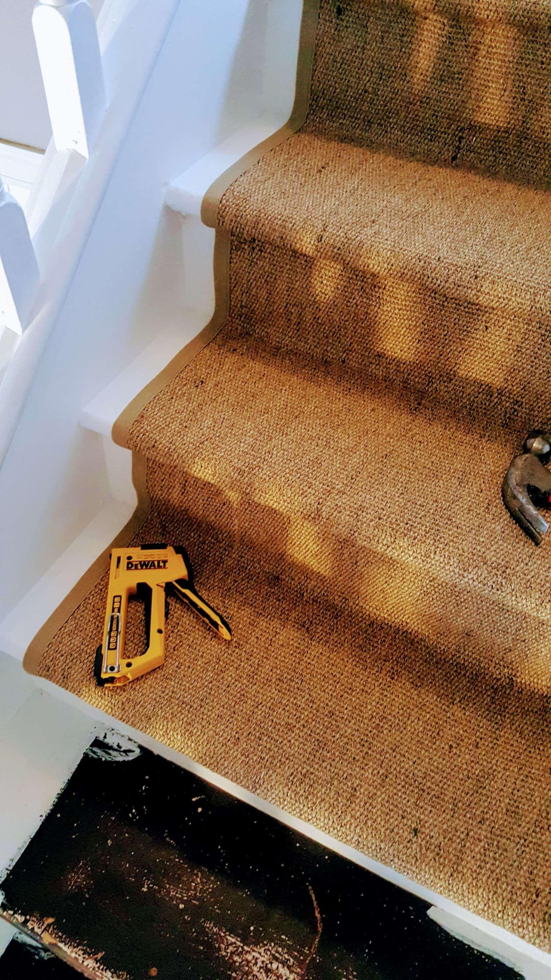 Best Simple Spring Staircase Makeover Sisal Stair Runner Diy 640 x 480