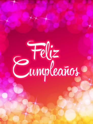 Pink Happy Birthday Card In Spanish Feliz Cumpleaos Looking For