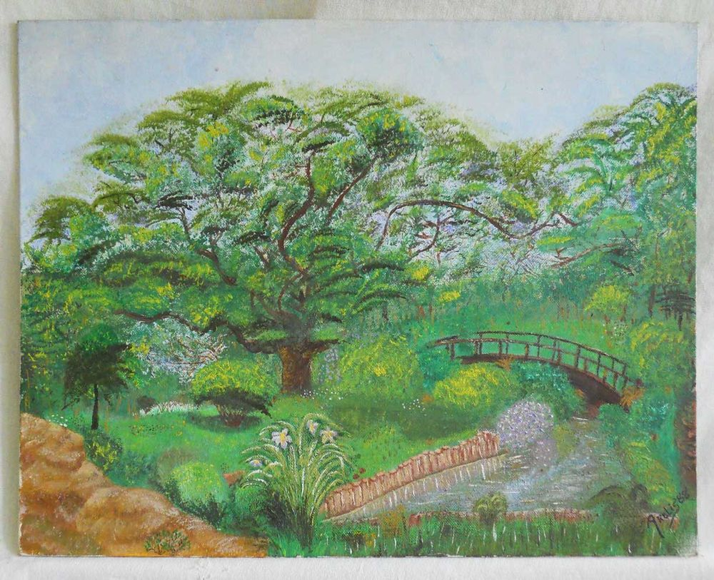 Vintage Painting Landscape Lush Green Summer Garden Bridge Brook Arelis 88 | eBay
