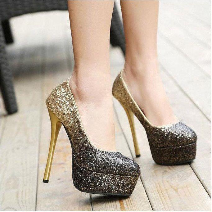 Sexy Sparkles mujeres de alta talón zapato encanto nR5SD