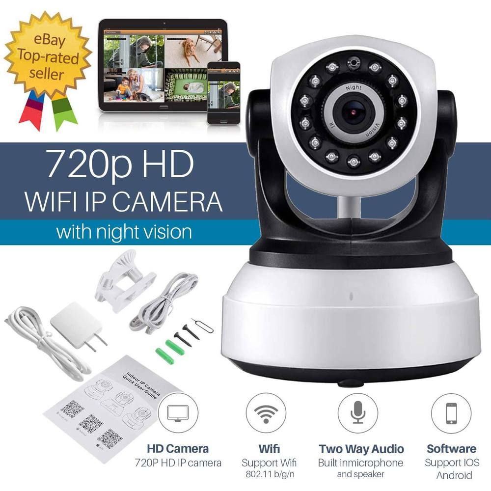 Wireless Ip Camera Pan Tilt Night Vision 720p Cctv Wifi Security Two Way Sensor Switch Cameras