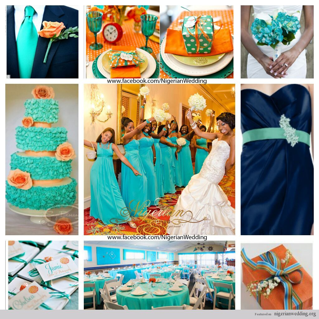 nigerian wedding cyan, navy blue and orange wedding color scheme ...