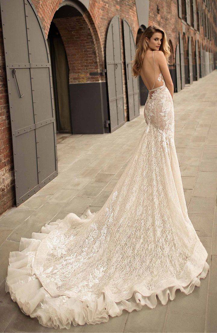 bridal gown full embellishment sexy elegant fit and flare wedding dress open low back medium train #weddingdress #weddinggown #weddingdresses ,wedding dresses ,wedding gowns