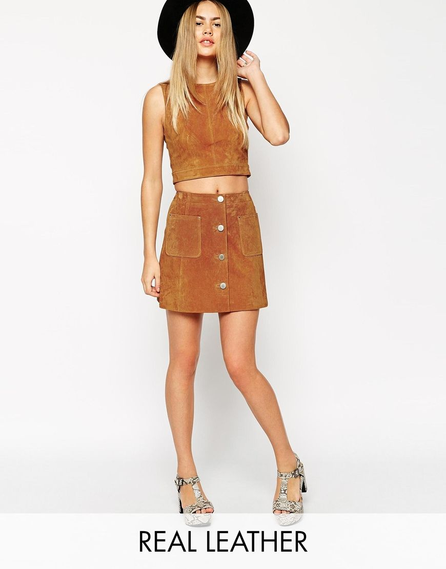 Image 1 of ASOS co-ord Suede A-Line Skirt With Button Through And ...