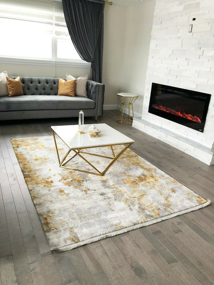 5x7 Contemporary Area Rug White Gold Gray Ebay Rugs In Living Room Living Room Grey Living Room Carpet