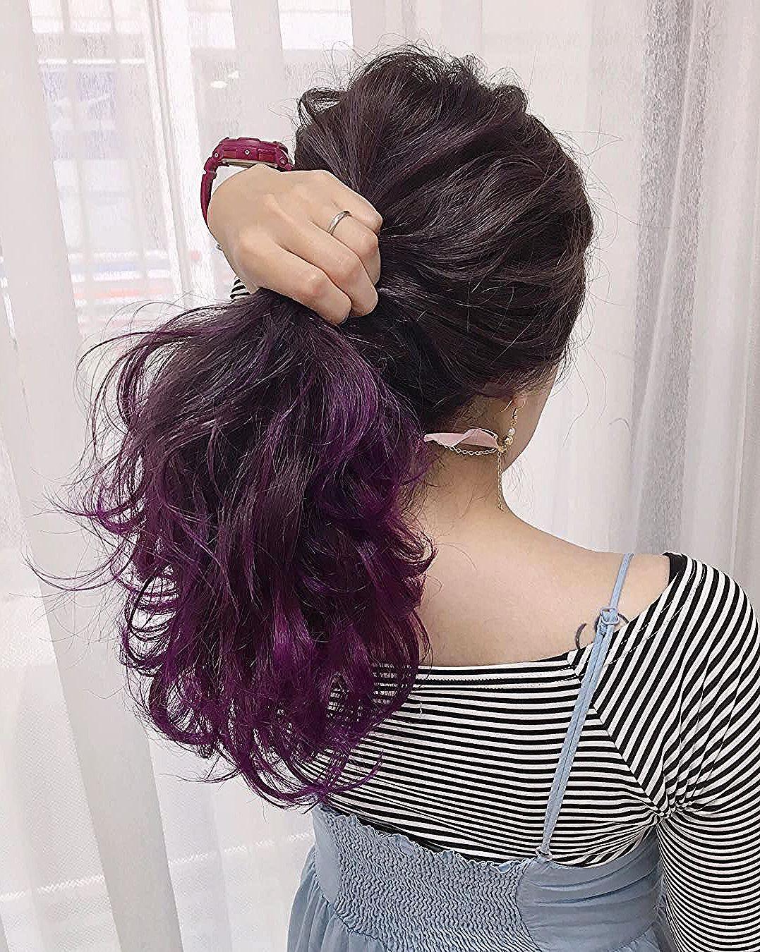 バイオレット系ヘアカラー 髪色16選 紫アッシュ ブラウン ピンク