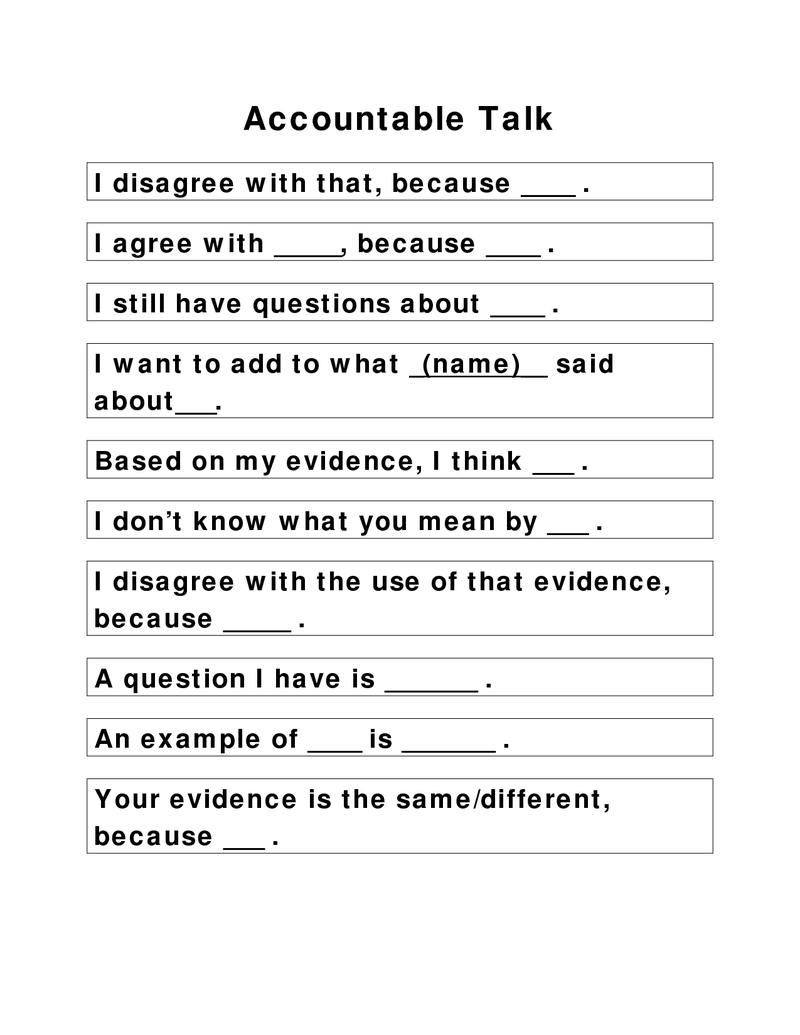 Page 1 - Accountable Talk sentence starters(1).docx | 6th Grade ...