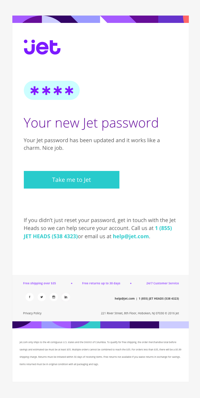 Jet Com Sent This Email With The Subject Line Your Jet Password Has Been Updated Read Abou Email Marketing Examples Email Design Email Marketing Inspiration